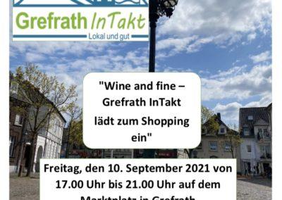 """Grefrath InTakt lädt ein – """"wine & fine"""" 10.09.21"""